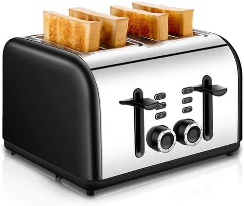 CUSINAID Black Stainless Steel Toasters 4 Slice