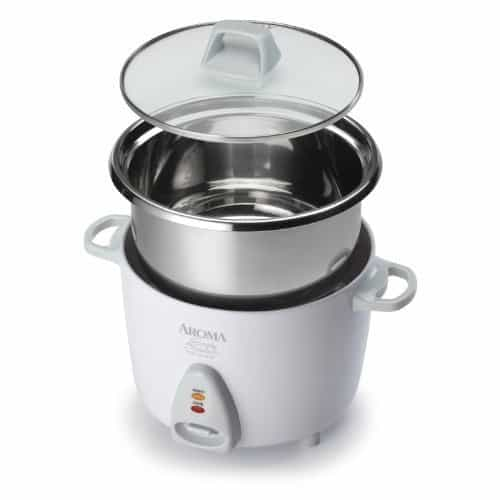 Aroma Simply Stainless 3-Cup (Uncooked) to 6-Cup (Cooked) Rice Cooker
