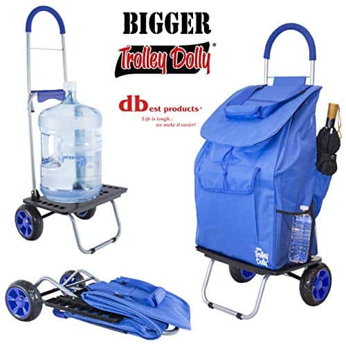 Best Products Trolley Dolly, Blue Shopping Grocery Foldable Cart