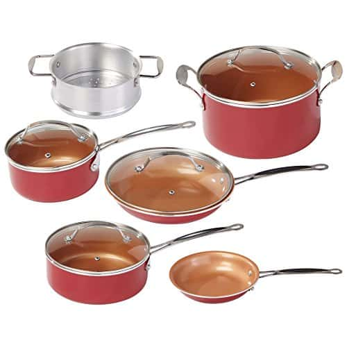 BulbHead Red Copper 10-Piece Copper-Infused Ceramic Cookware Set