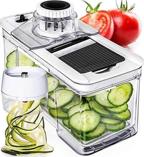 Prep Naturals Adjustable Mandoline Slicer with Spiralizer Vegetable Slicer