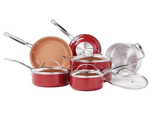 Red Copper Non-Stick Cookware Set By BulbHead