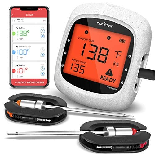 Smart Bluetooth BBQ Grill Thermometer NutriChef PWIRBBQ80