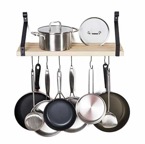 Soduku Pot Pan Rack with Solid Wood Shelf